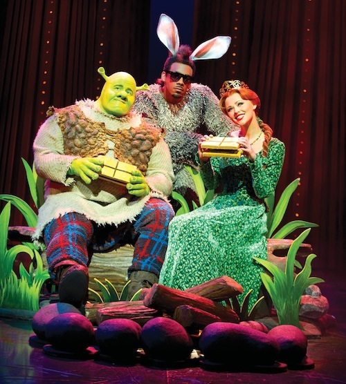 Shrek The Musical: Dean Chisnall as Shrek, Richard Blackwood as Donkey and Kimberley Walsh as Princess Fiona.