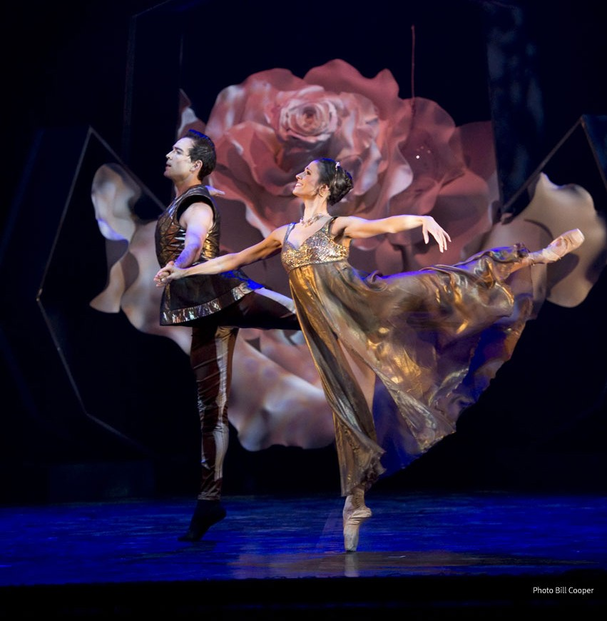 Northern Ballet dancers Kenneth Tindall as Prince Orian and Martha Leebolt as Beauty in Beauty and the Beast. Production photography by Bill Cooper.