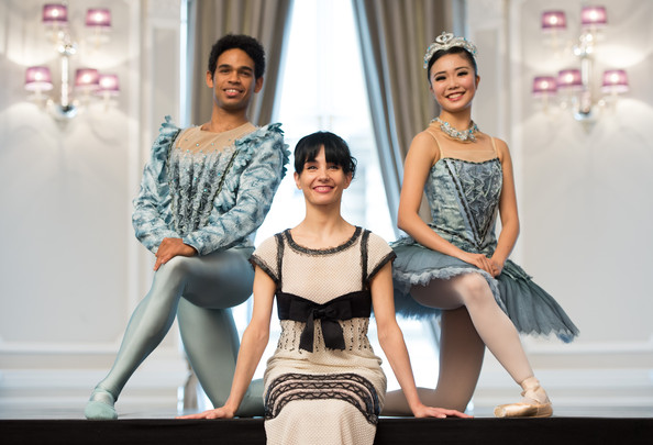 Tamara Rojo, Yonah Acosta and Shiori Kase in a promotional photograph for English National Ballet's production of The Sleeping Beauty.