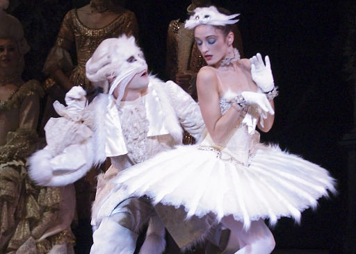 English National Ballet dancers Juan Rodriguez and Venus Villa as Puss in Boots and the White Cat in The Sleeping Beauty.