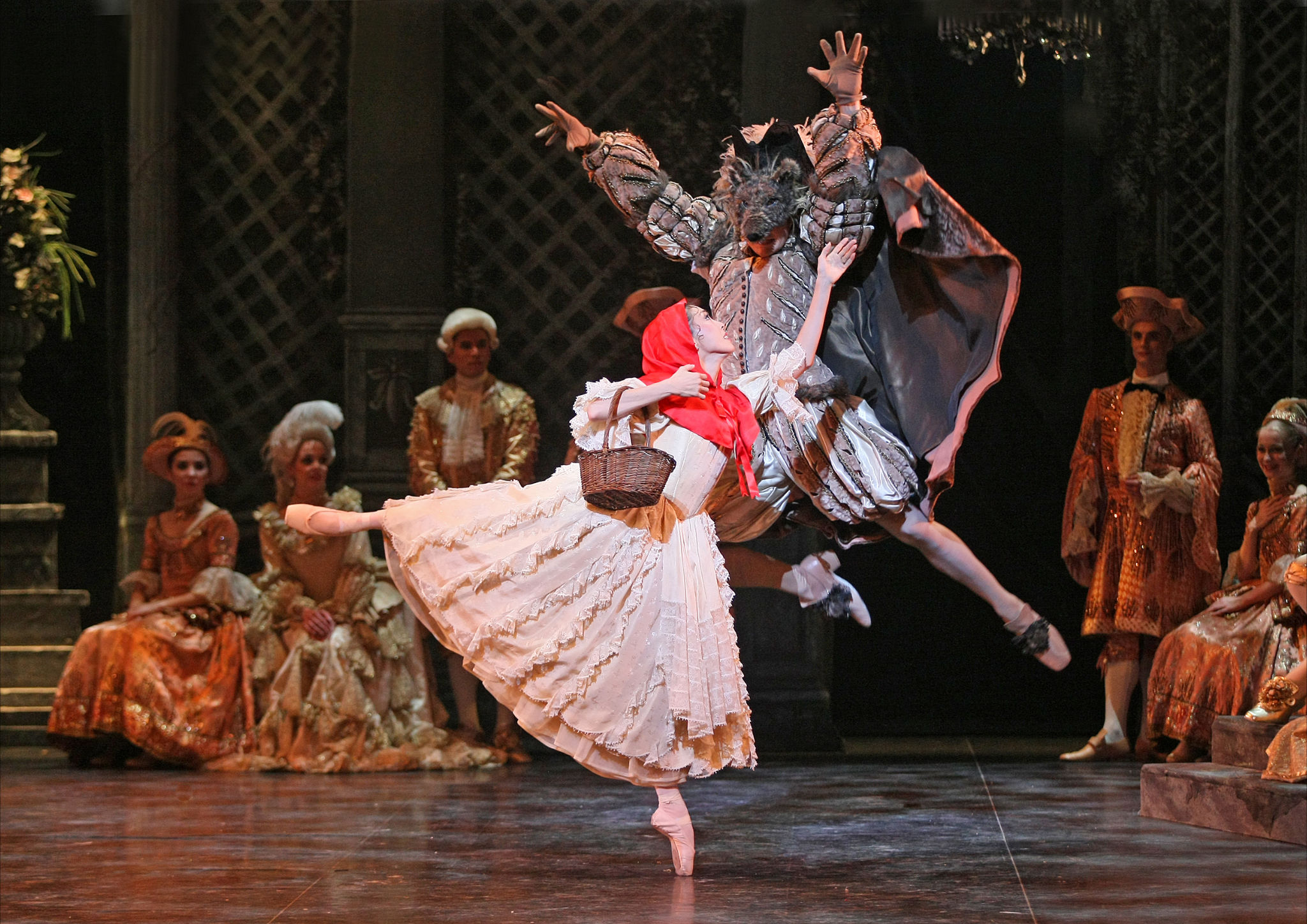 English National Ballet dancers as Red Riding Hood and the Wolf in The Sleeping Beauty.