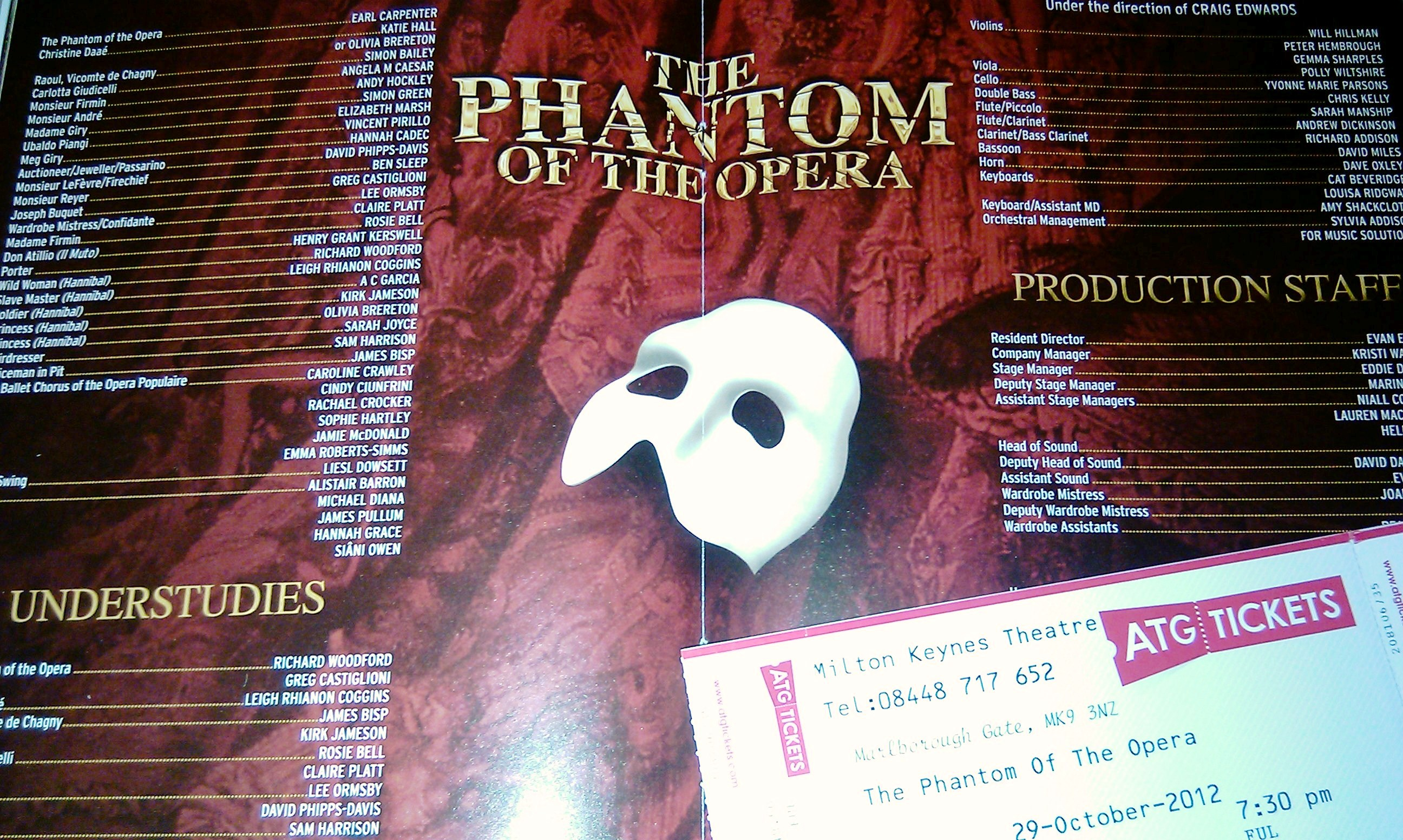 The Phantom of The Opera at Milton Keynes Theatre.