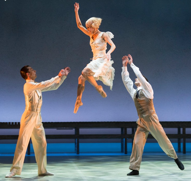 Northern Ballet dancers Giuliano Contadini, Martha Leebolt and Tobias Batley as Nick , Daisy and Jay in The Great Gatsby (photo by Bill Cooper).