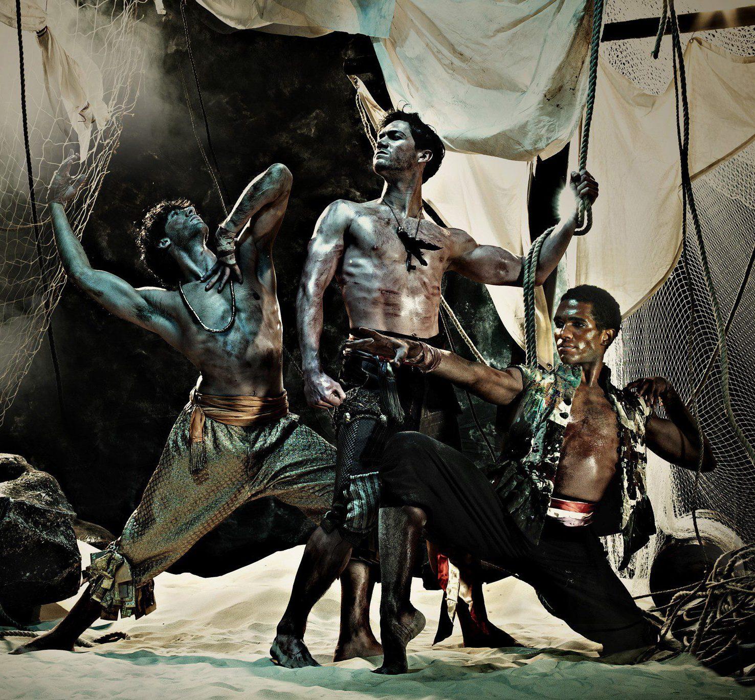 'Le Corsaire': ENB Dancers Esteban Berlanga, Max Westwell and Junor Souza photographed by Guy Farrow