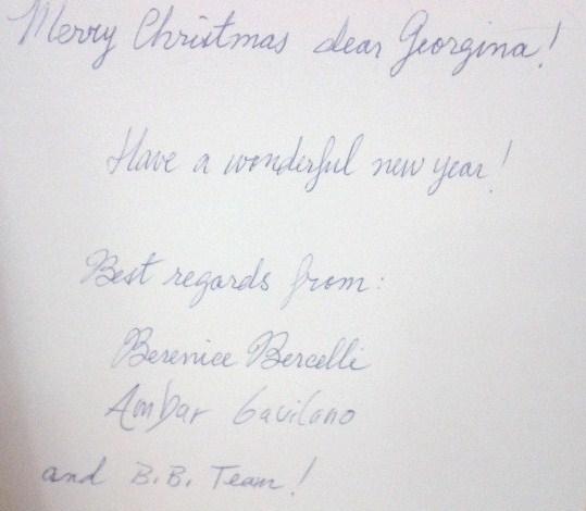 My Ballet Papier Christmas card from Berenice Bercelli, December 2013.