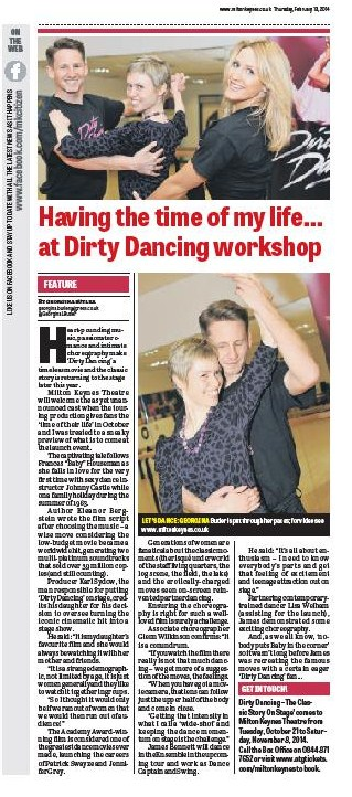 Dirty Dancing press launch feature on page 8 of the Thursday 13th February 2014 print edition of the Milton Keynes Citizen