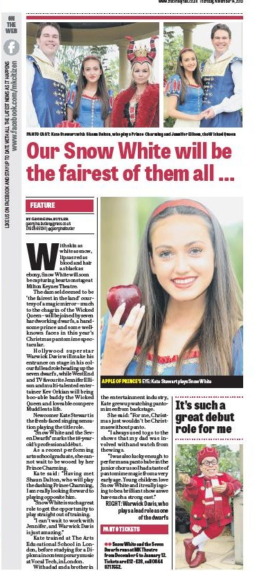 MK Citizen 14th November - Panto 2013 - Interview with Snow White