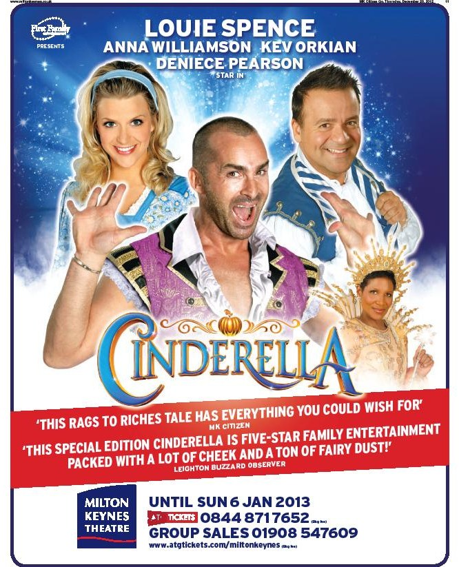 Cinderella at Milton Keynes Theatre, Christmas 2012 pantomime advert (featuring a quote from my review for the Milton Keynes Citizen).