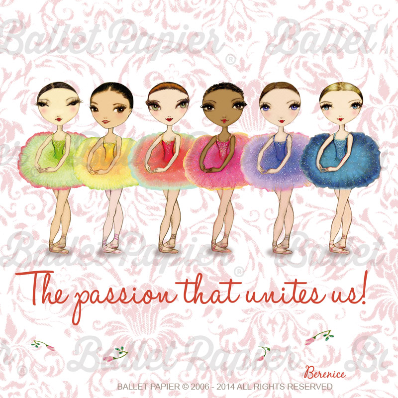 Six ballerinas in colourful tutus drawn by Ballet Papier artist Berenice