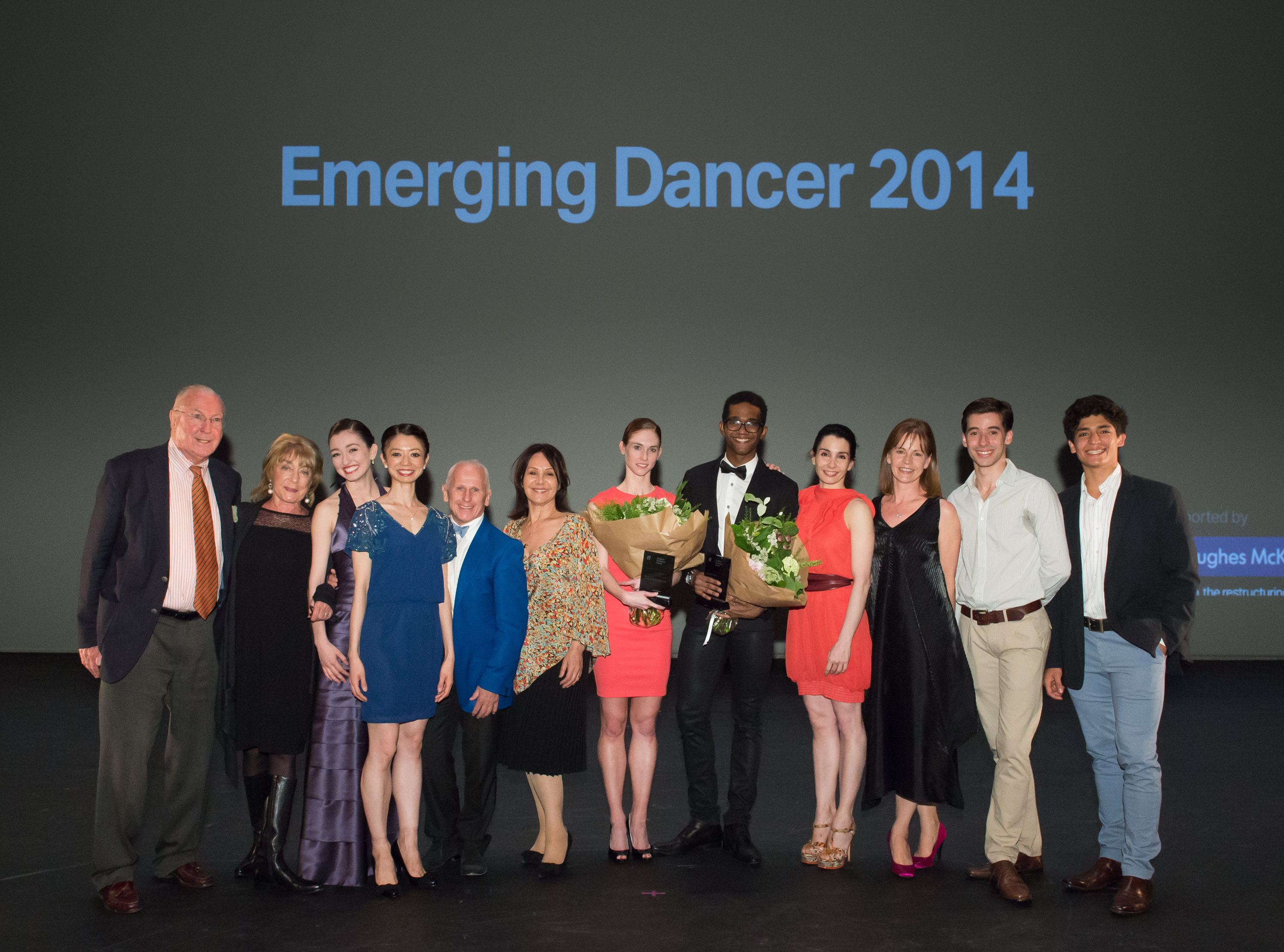 (L-R) Clement Crisp OBE, Dame Gillian Lynne DBE, Madison Keesler, Senri Kou, Wayne Sleep OBE, Arlene Phillips CBE, Alison McWhinney, Junor Souza, Tamara Rojo, Deborah Bull CBE, Vitor Menezes & Joan Sebastian Zamora at English National Ballet's Emerging Dancer 2014, at The Lyceum Theatre, London on May 19, 2014. (Photo by Arnaud Stephenson)