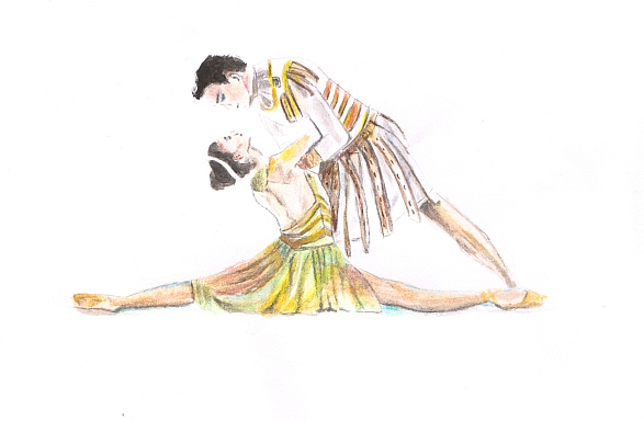 Northern Ballet's Cleopatra and Caesar, an illustration by Olivia Holland.