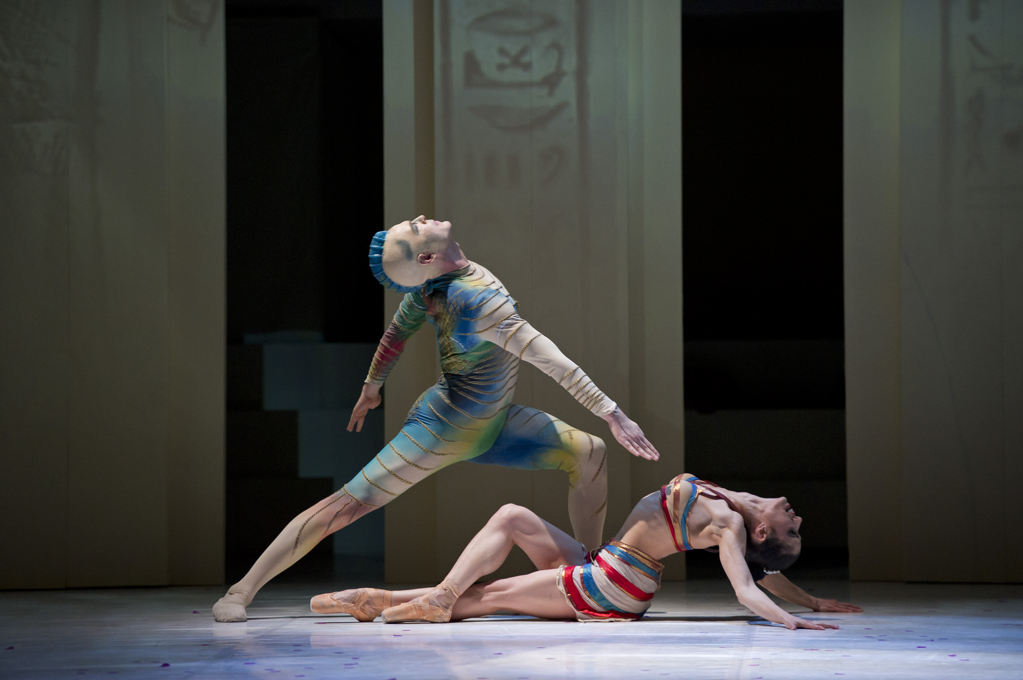 Northern Ballet dancers in Cleopatra, a ballet by David Nixon. Kenneth Tindall as Wadjet and Martha Leebolt as Cleopatra.