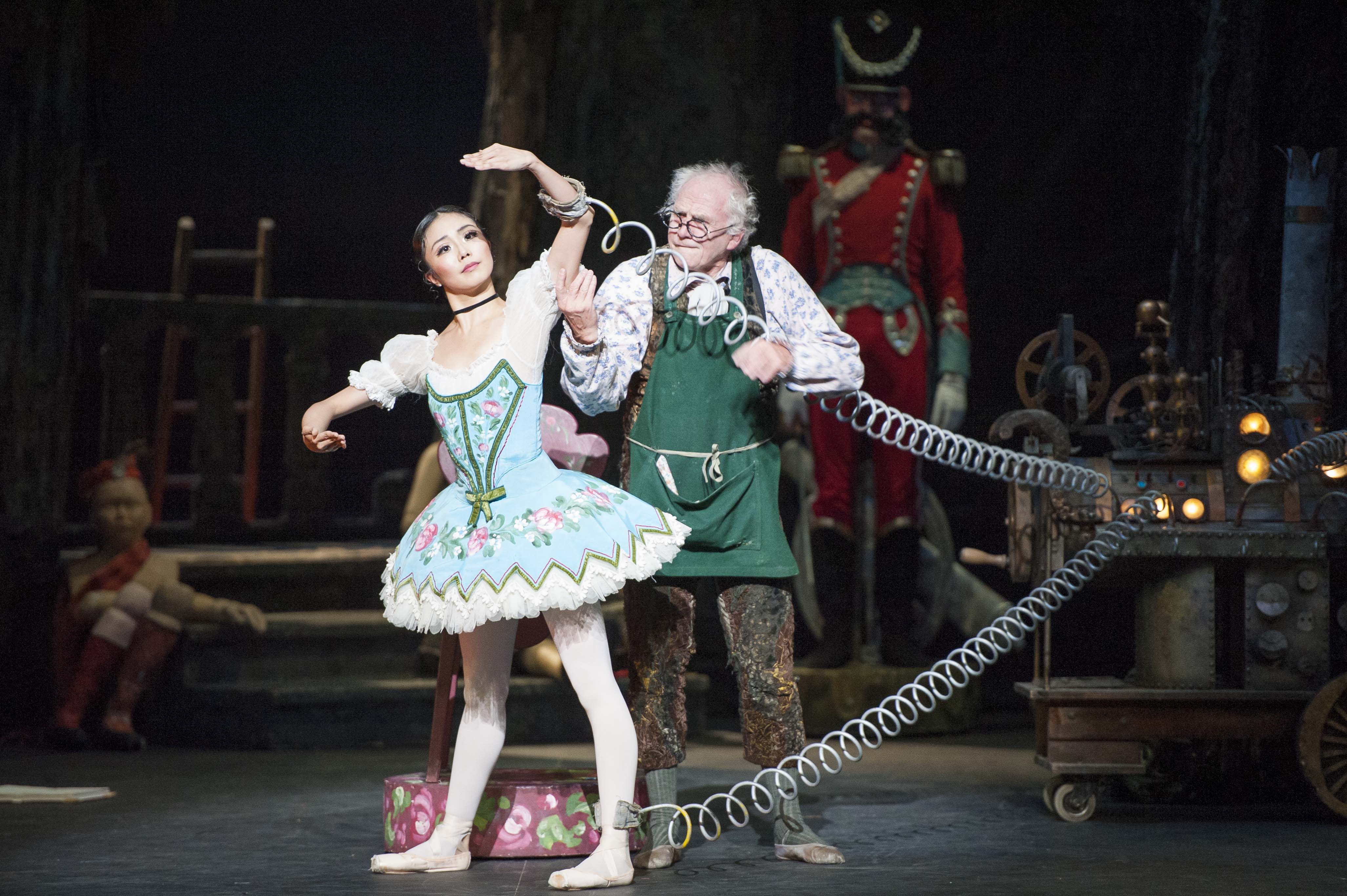 Shiori Kase (Swanilda) and Michael Coleman (Dr.Coppélius) in English National Ballet's 'Coppélia' (photo by David Jensen)
