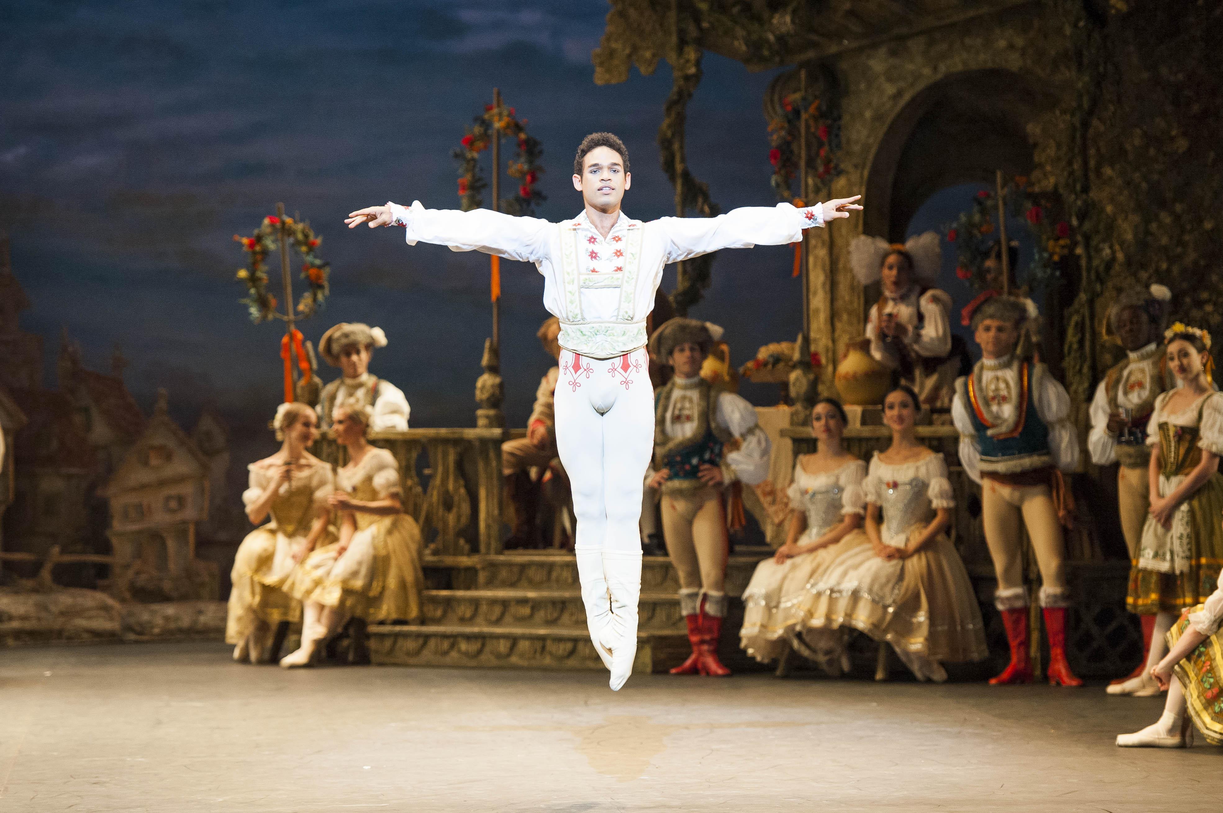 Coppélia. English National Ballet dancer Yonah Acosta as Franz in English National Ballet's 'Coppélia'. Photo by David Jensen.
