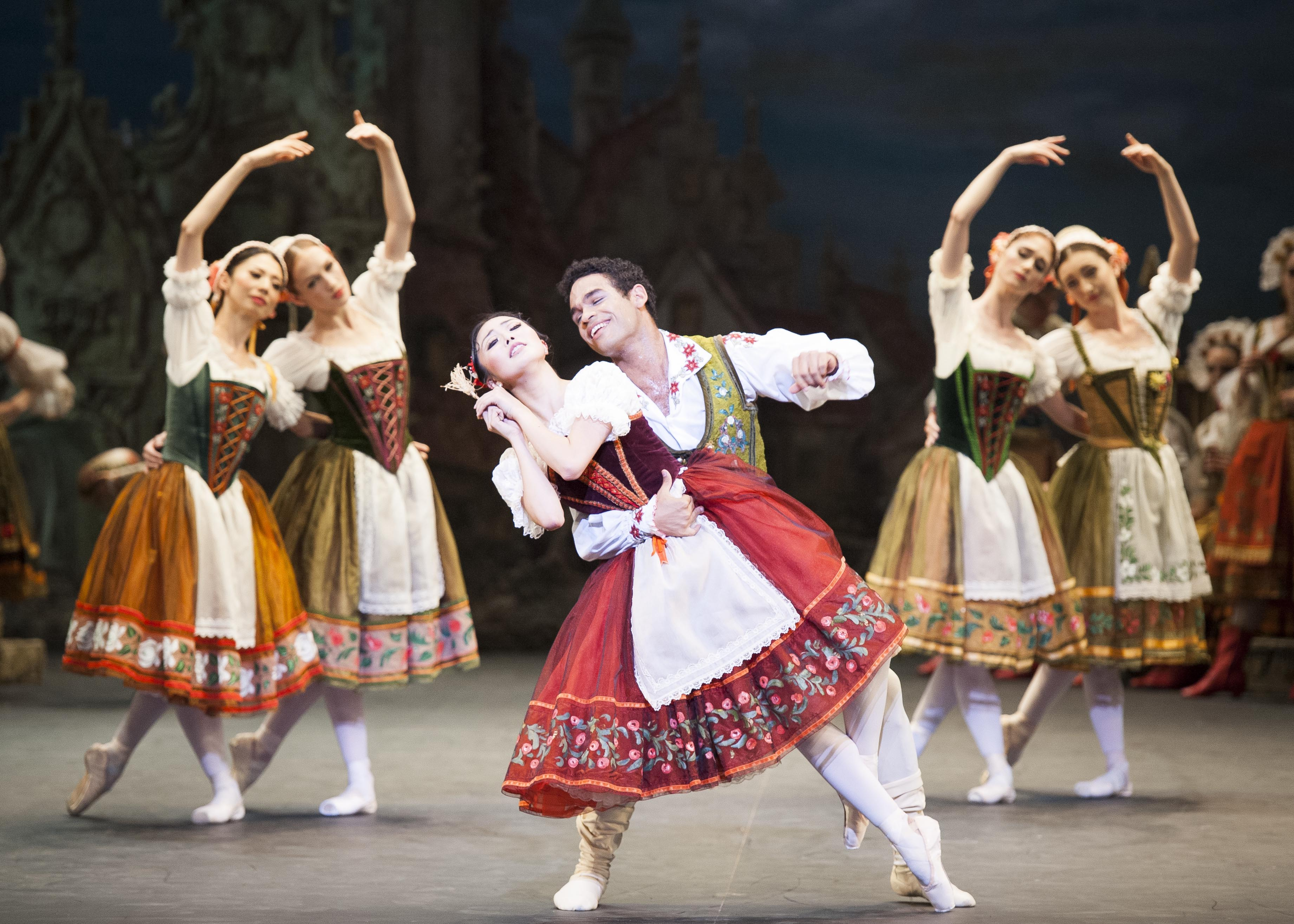 Shiori Kase (Swanilda) and Yonah Acosta (Franz) in English National Ballet's 'Coppélia' (photo by David Jensen)