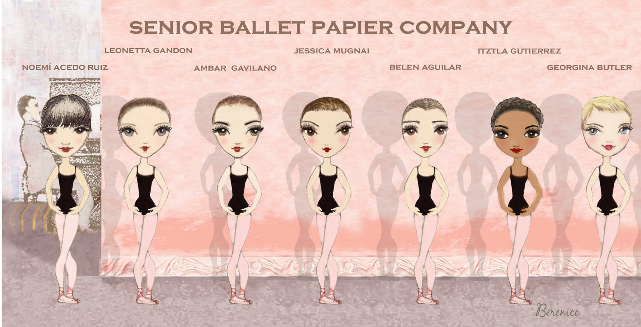 Ballet class illustration by Ballet Papier artist Berenice