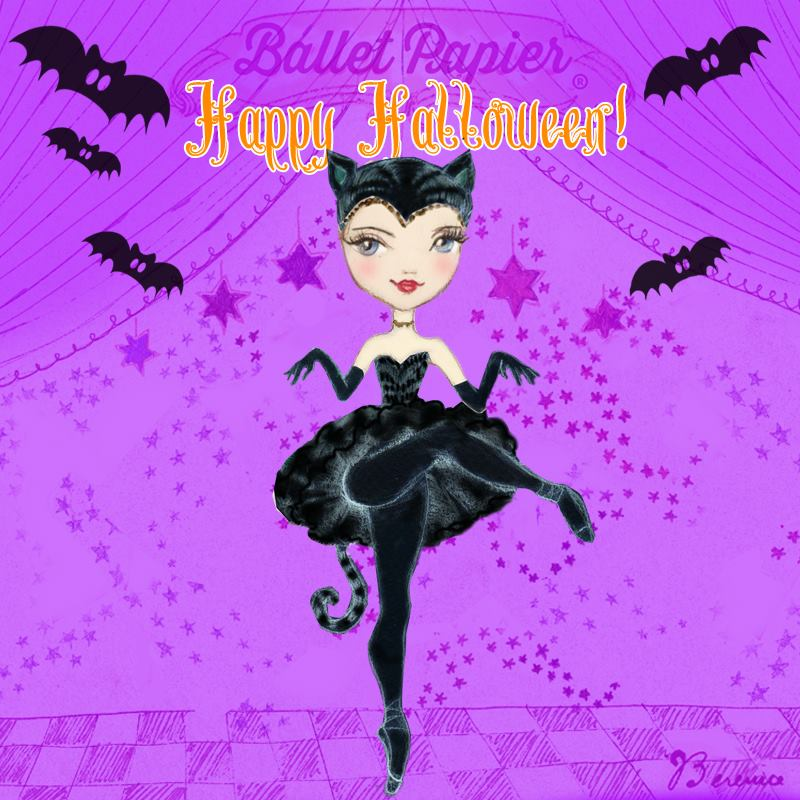 'Happy Halloween' illustration for Georgina Butler by Ballet Papier artist Berenice Bercelli (www.balletpapier.com). An illustration of Georgina dressed in a black tutu costume, black tights and black ballet shoes. She is wearing a black headdress in the shape of cat ears and a black tail can be seen trailing from the back of her tutu. She is standing en pointe on one leg, with her hands and arms covered in long black gloves and held out as if her hands are paws. The purple background of the illustration depicts curtains like those that frame a stage. Five bats are flying around Georgina, who is centre-stage. The words 'Happy Halloween' are written above her head at the top of the illustration.