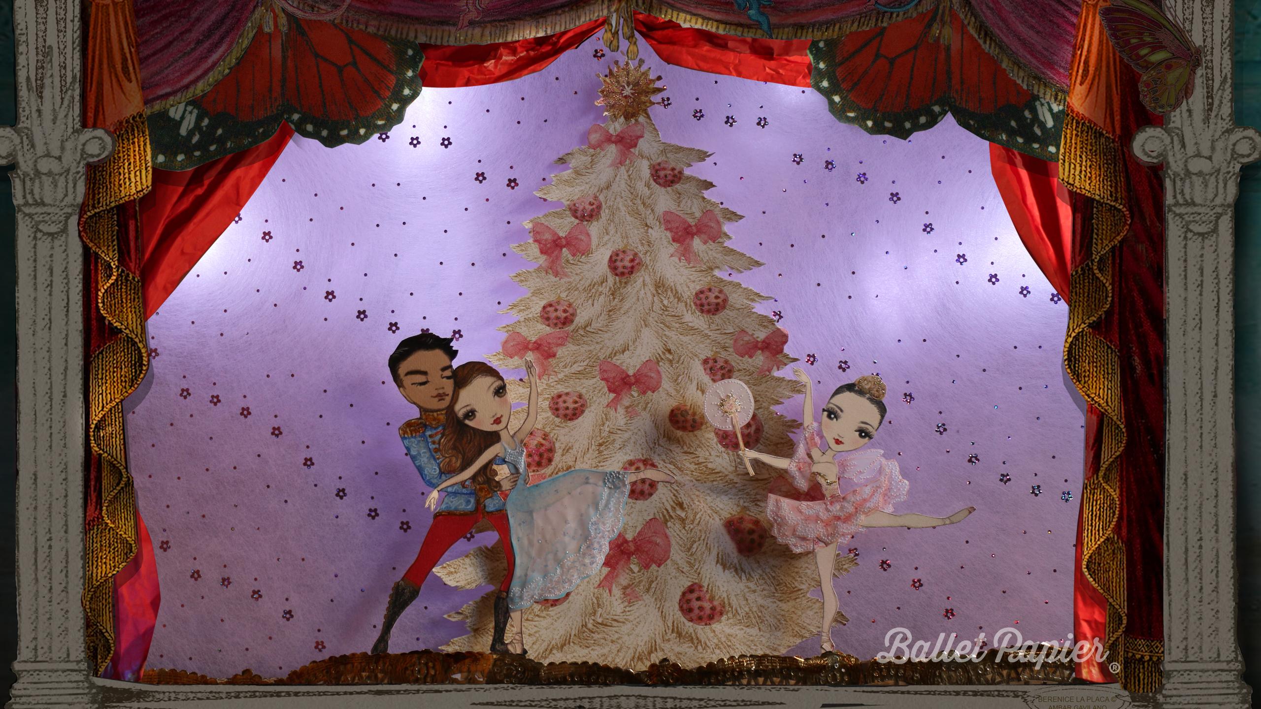 Christmas. Ballet Papier Nutcracker pas de deux finale