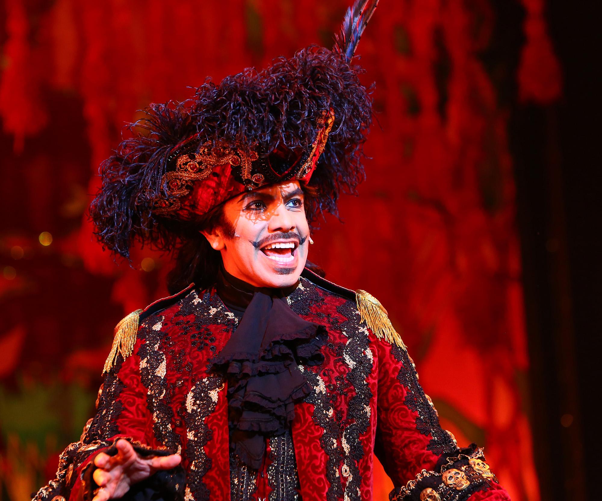Peter Pan. David Bedella as Captain Hook in 'Peter Pan' at Milton Keynes Theatre, Christmas 2014.