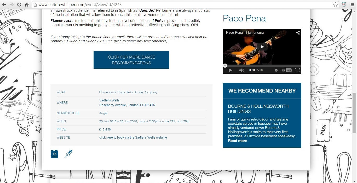 Screenshot of Culture Whisper content by Georgina Butler. Preview of Flamencura: Paco Peña Dance Company, image 3