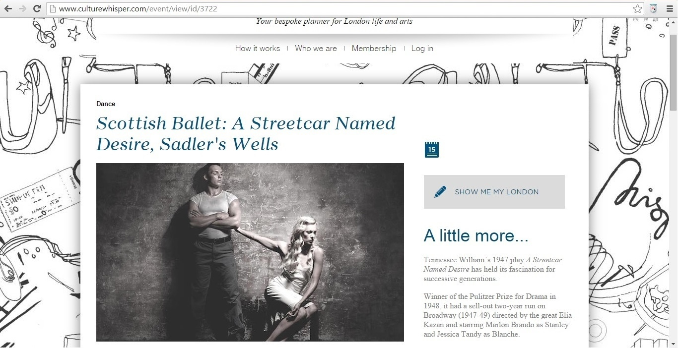 Screenshot of Culture Whisper content by Georgina Butler. Preview of Scottish Ballet: A Streetcar Named Desire, image 1
