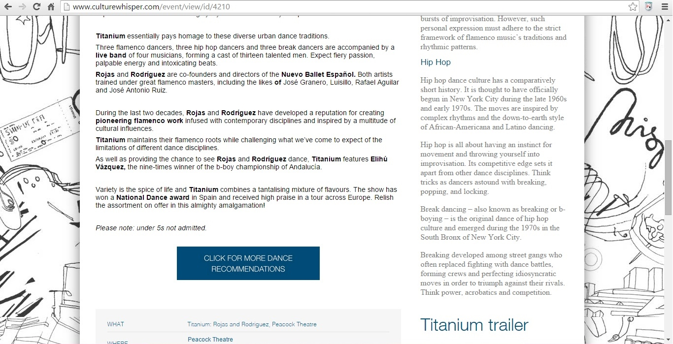 Screenshot of Culture Whisper content by Georgina Butler. Preview of Titanium: Rojas and Rodriguez, image 3