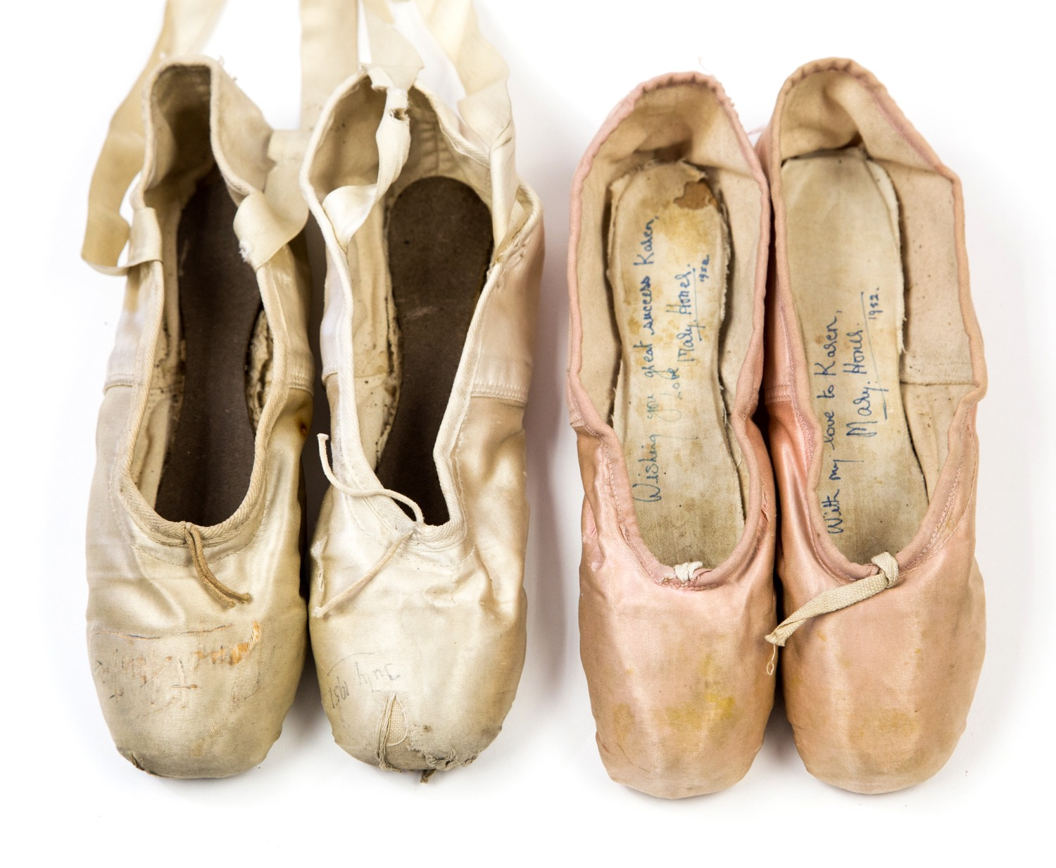 Ballet Shoes. Margot Fonteyn's pointe shoes (on the left) are among those up for auction.