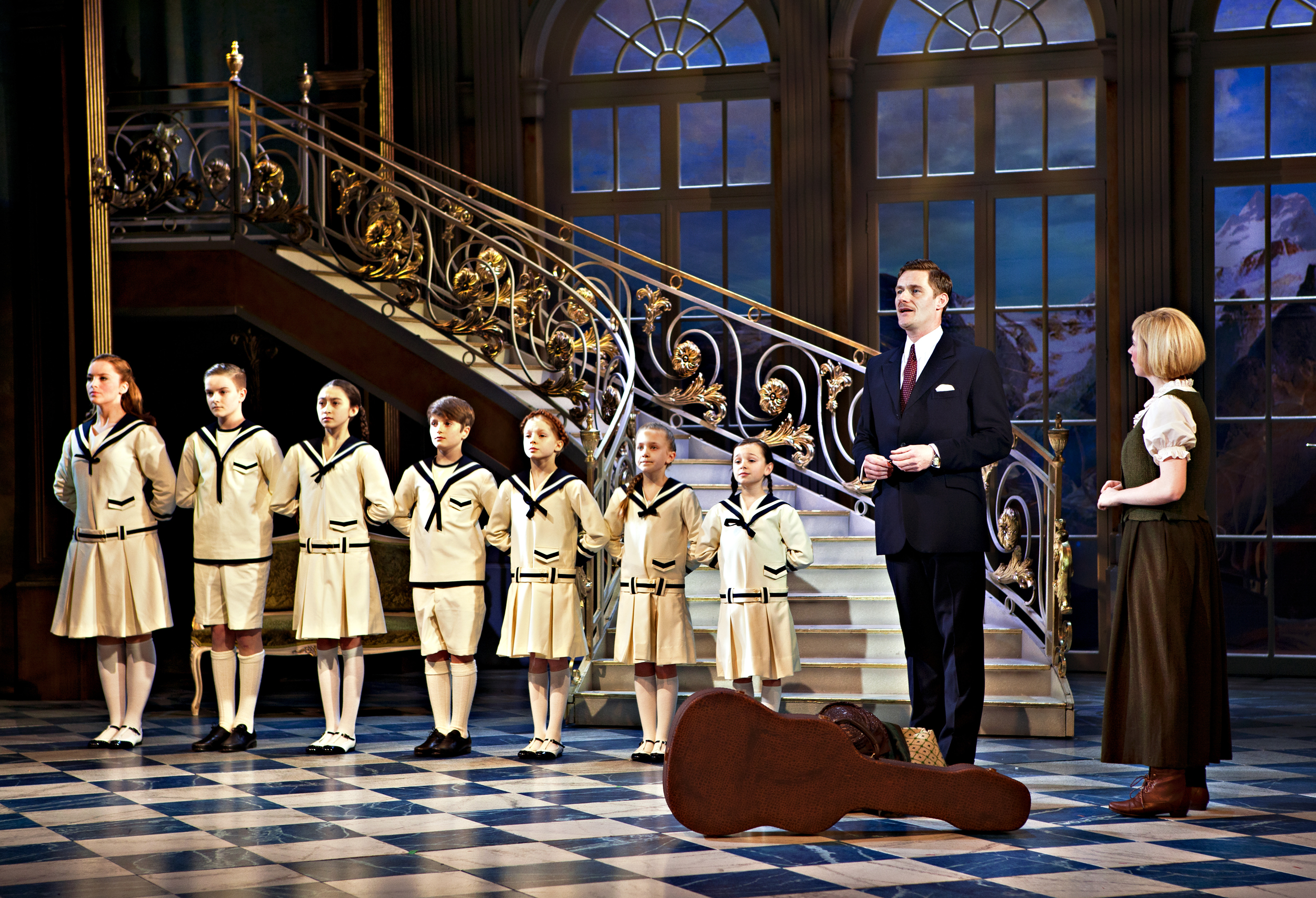 The Sound of Music. Steven Houghton as Captain Von Trapp, Danielle Hope as Maria. Photo by Pamela Raith.