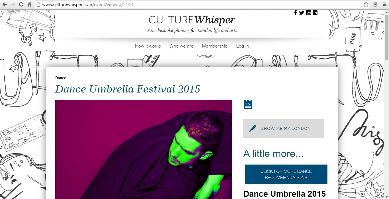 Culture Whisper Dance Umbrella Festival 2015 1