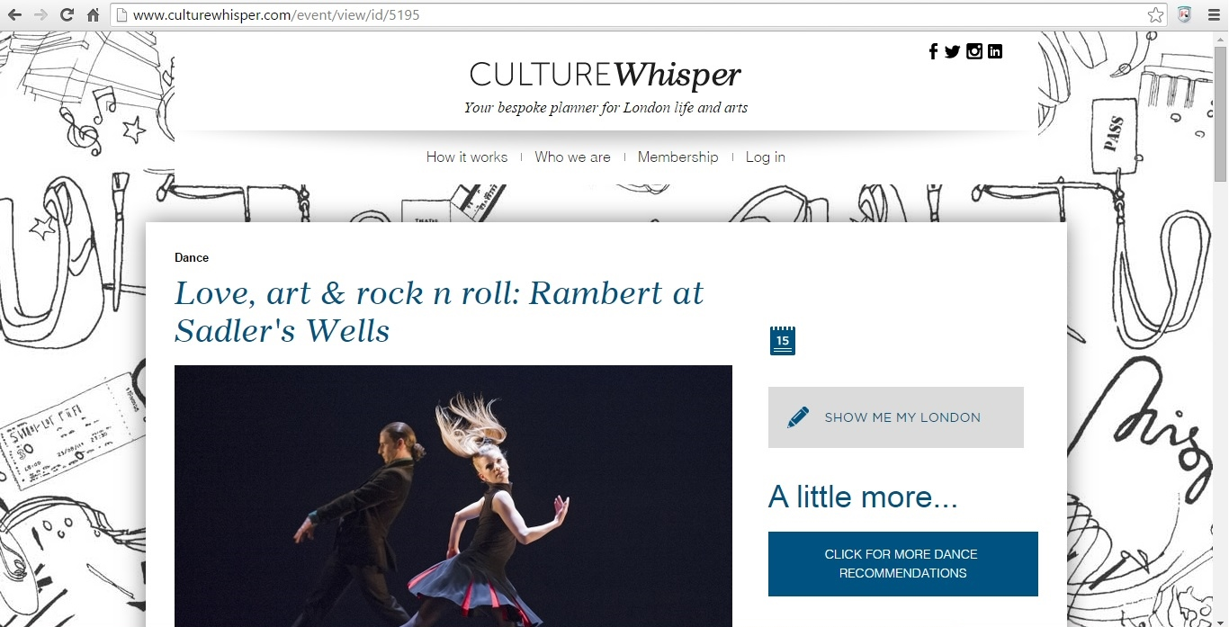 Culture Whisper Rambert - Love, art & rock n roll 1