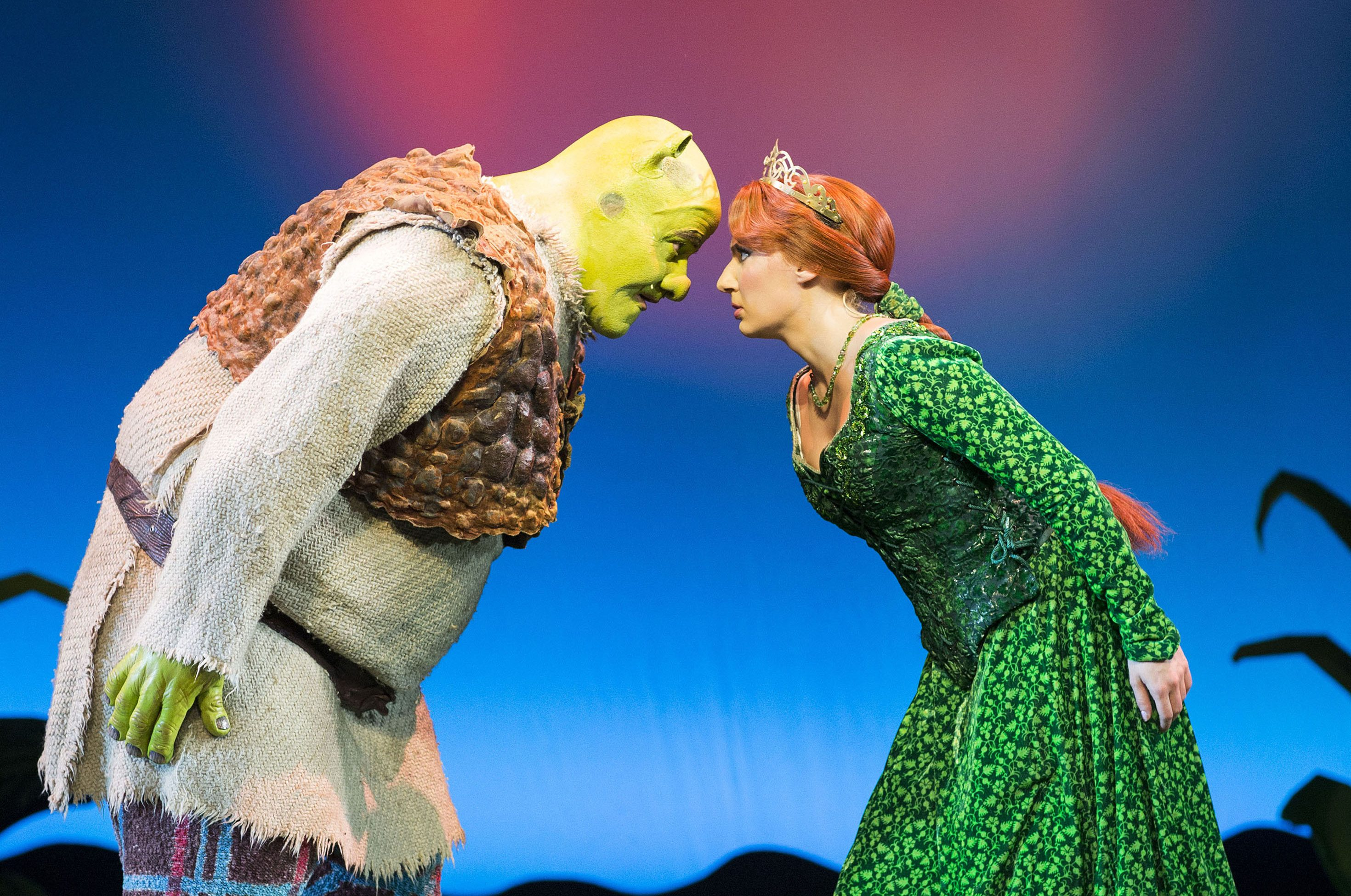 Shrek The Musical. Shrek and Princess Fiona. Photo by Helen Maybanks.