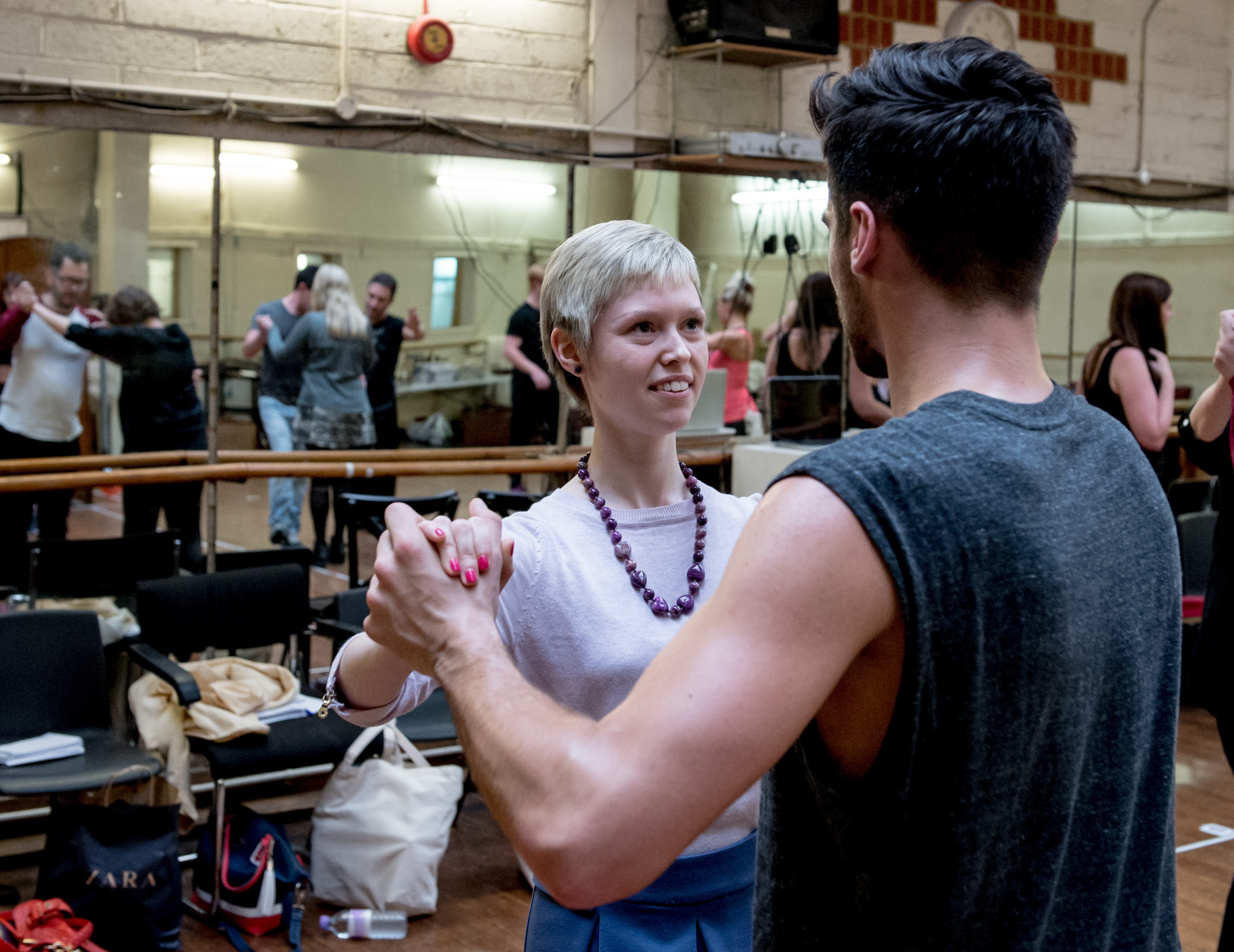 Rehearsals with Vincent Simone and Flavia Cacace for The Last Tango. Cast member Grant Thresh leads Georgina Butler through some Tango steps.