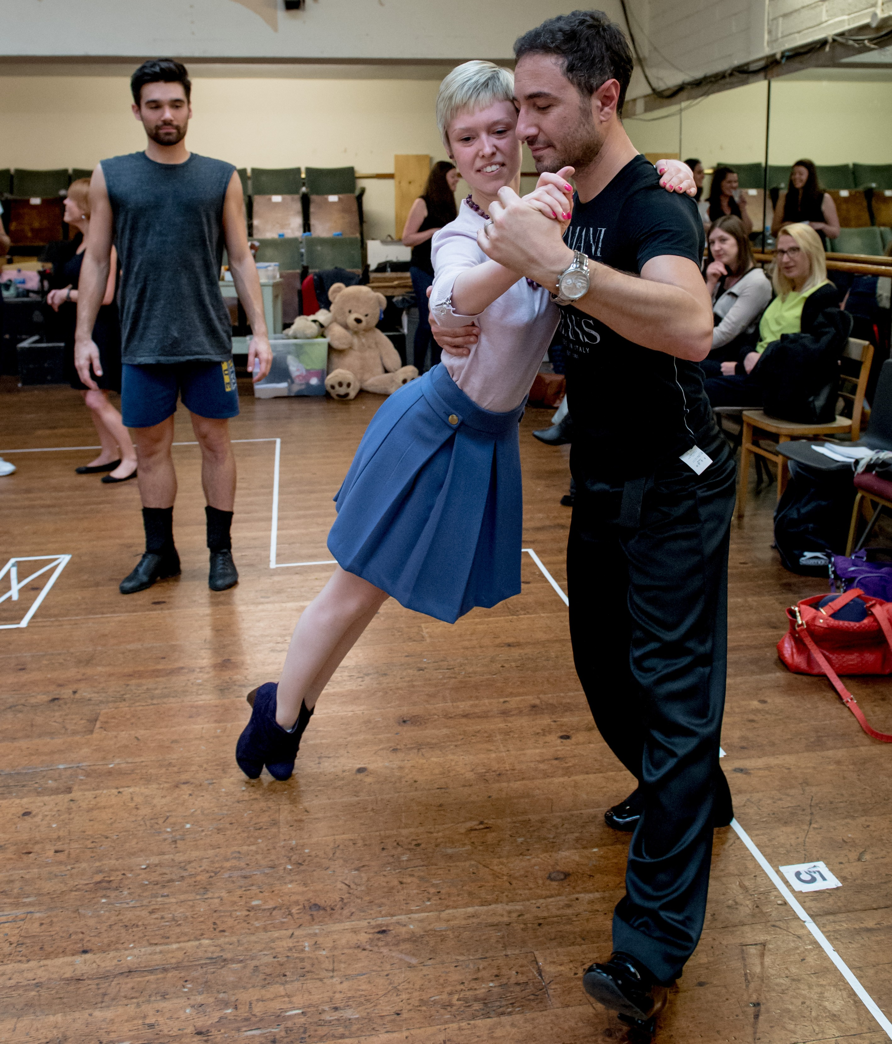 Rehearsals with Vincent Simon and Flavia Cacace. Vincent partners Georgina Butler.