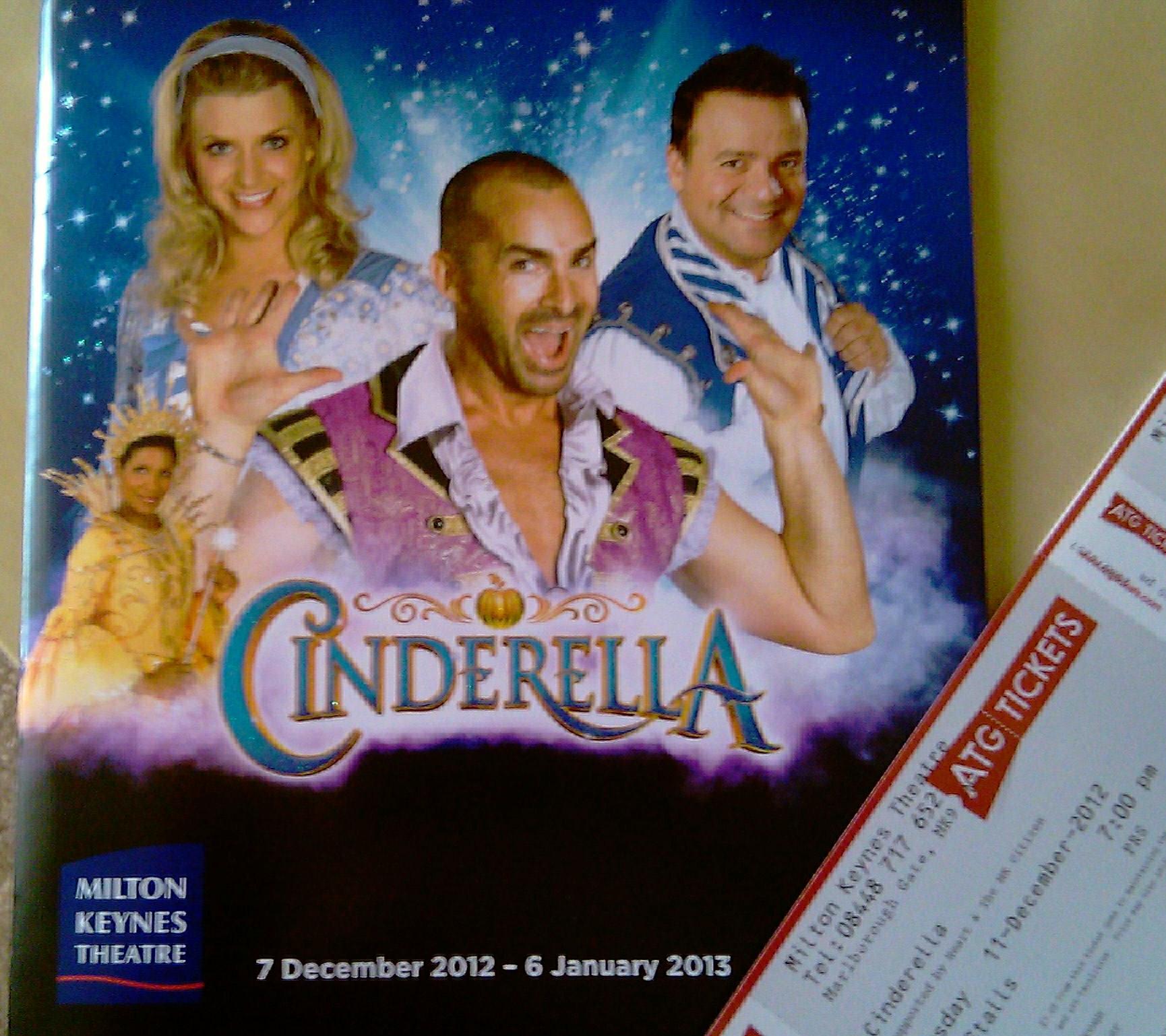 Milton Keynes Theatre pantomime Christmas 2012. Cinderella programme and ticket.