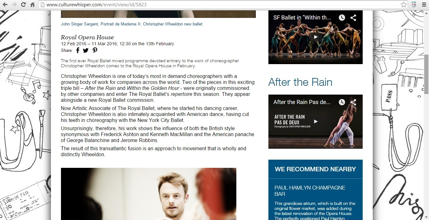 Culture Whisper Christopher Wheeldon 2