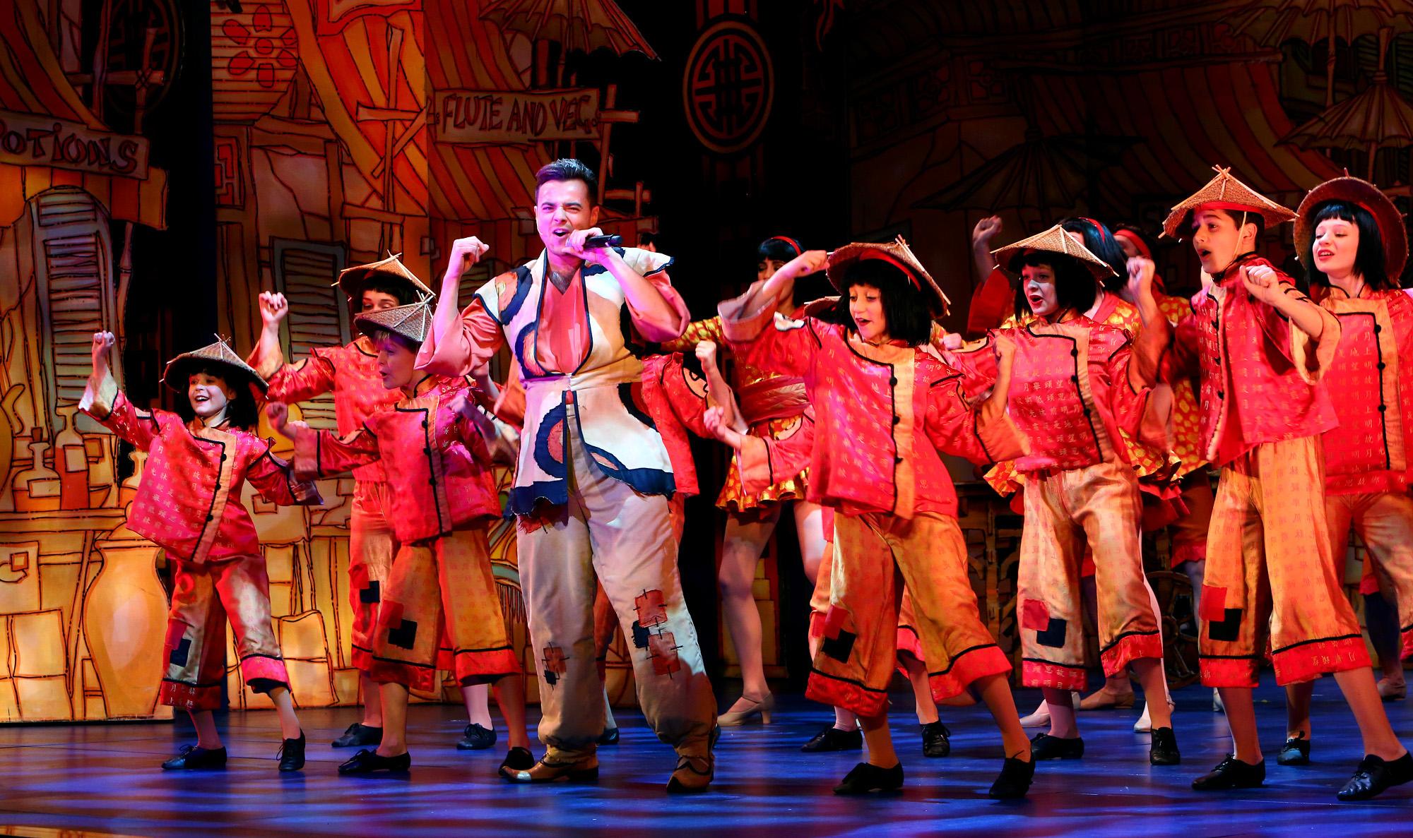 Aladdin. Ben Adams. Milton Keynes Theatre pantomime, Christmas 2015. Aladdin stars Priscilla Presley, Gary Wilmot, Ben Adams, Wayne Sleep, Kev Orkian, Mark Pickering, Aimie Atkinson and Phil Holden.