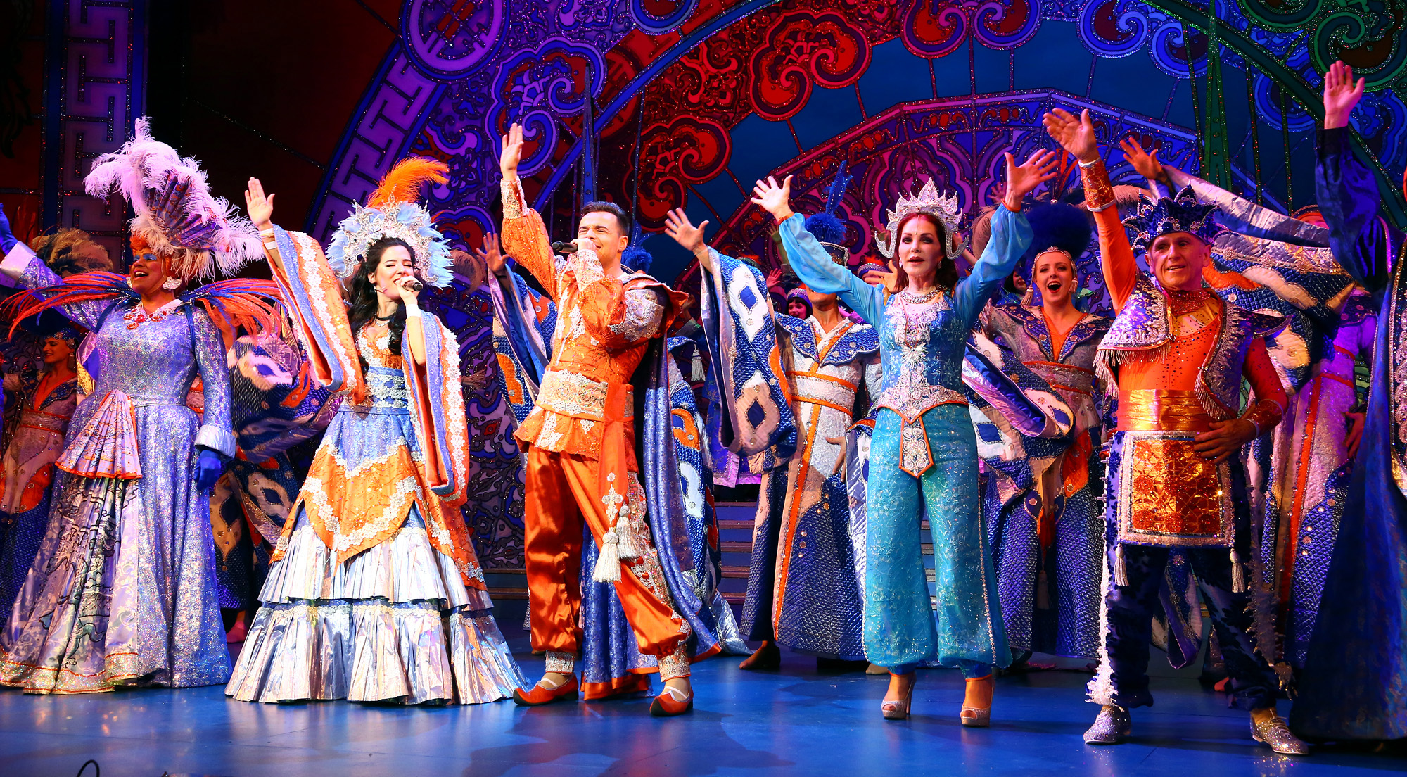 Milton Keynes Theatre presents Aladdin with Priscilla Presley Gary Wilmot Ben Adams Wayne Sleep Kev Orkian Mark Pickering Aimie Atkinson and Phil Holden