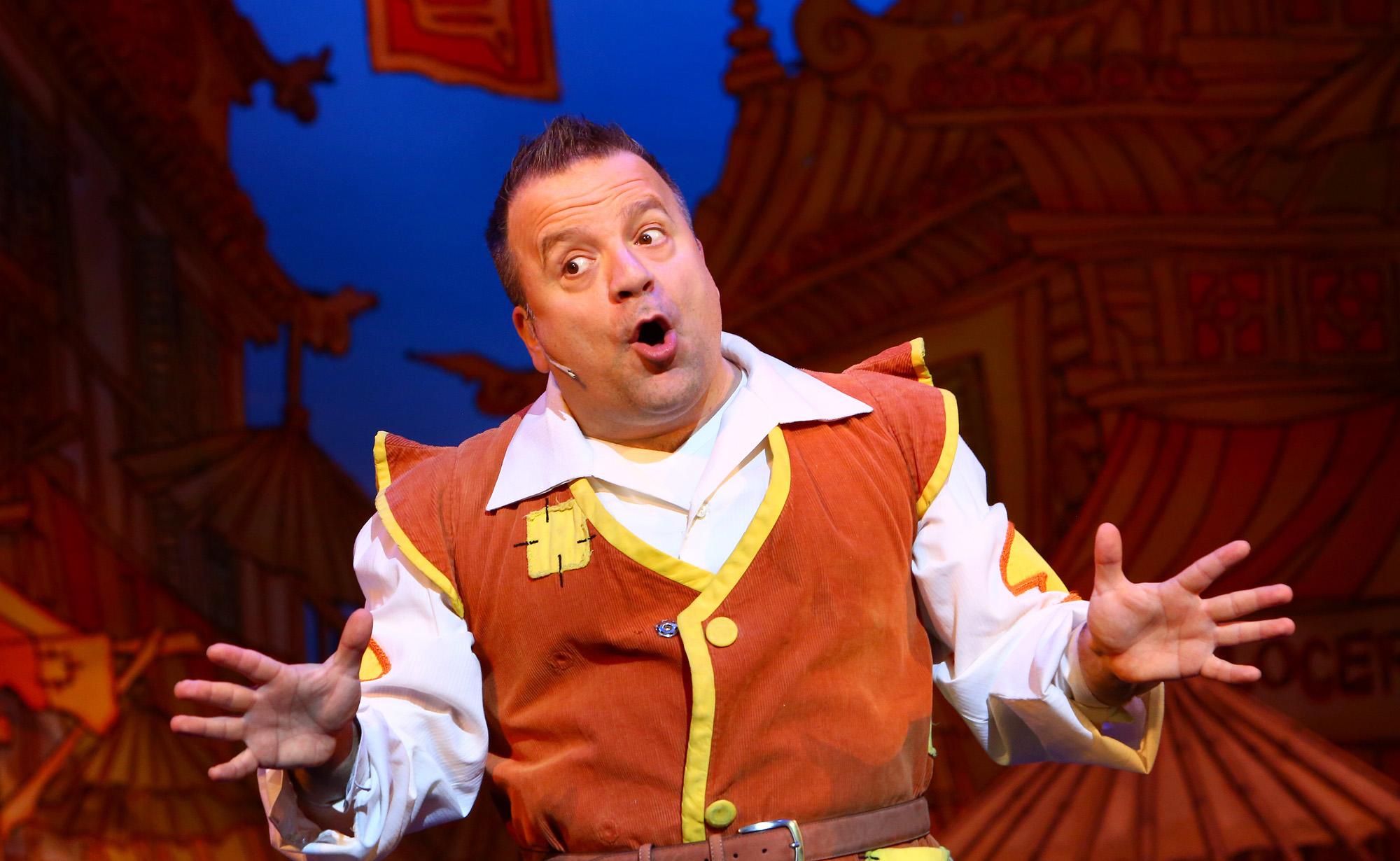 Aladdin. Kev Orkian. Milton Keynes Theatre pantomime, Christmas 2015. Aladdin stars Priscilla Presley, Gary Wilmot, Ben Adams, Wayne Sleep, Kev Orkian, Mark Pickering, Aimie Atkinson and Phil Holden.