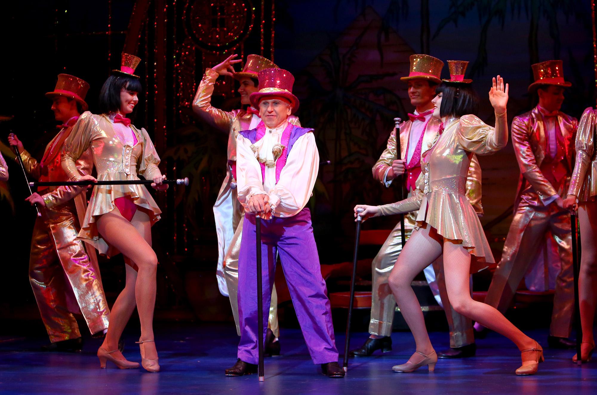 Aladdin. Wayne Sleep. Milton Keynes Theatre pantomime, Christmas 2015. Aladdin stars Priscilla Presley, Gary Wilmot, Ben Adams, Wayne Sleep, Kev Orkian, Mark Pickering, Aimie Atkinson and Phil Holden.