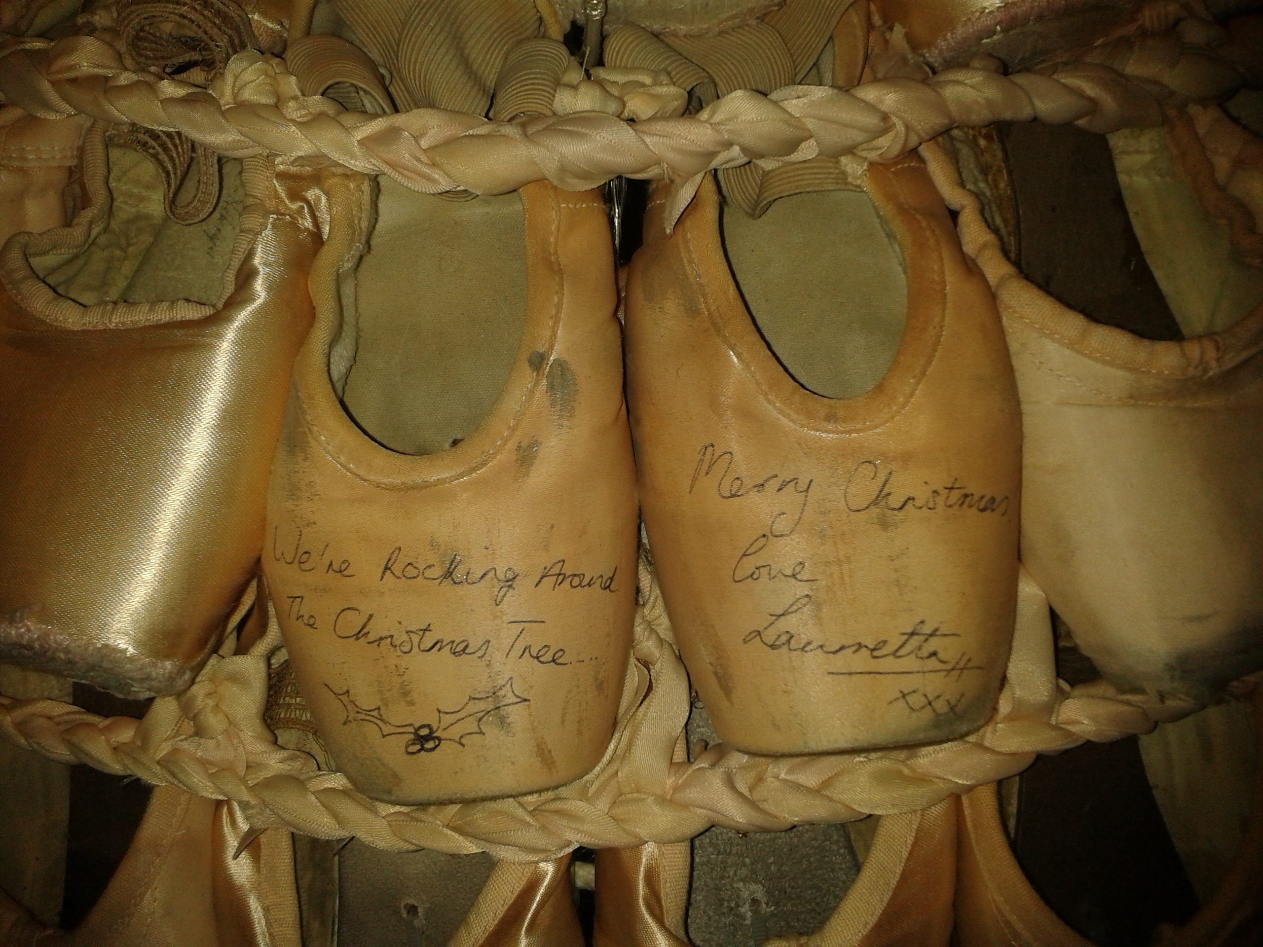 Nutcracker. English National Ballet. London Coliseum. English National Ballet Pointe Shoe Tree. Laurretta Summerscale's pointe shoes.