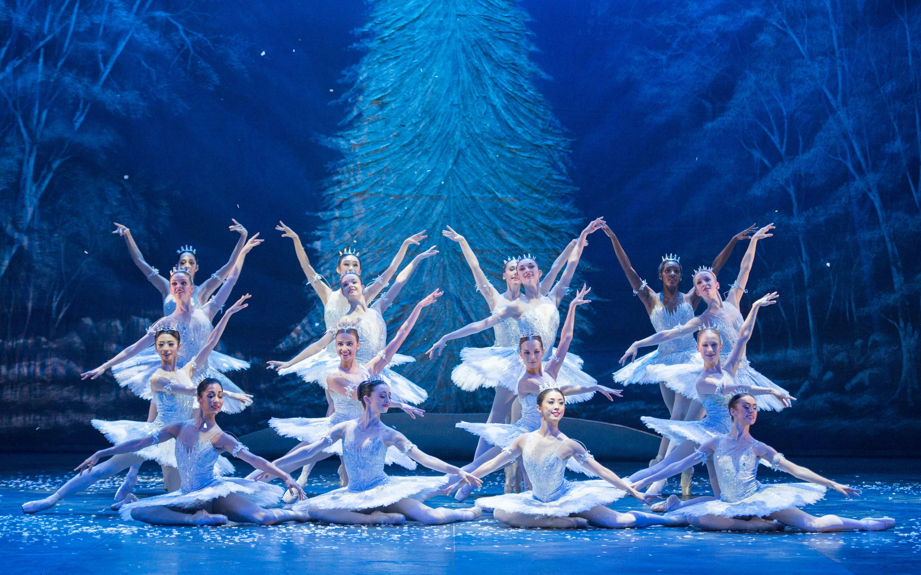 English National Ballet dancers as Snowflakes in Wayne Eagling's Nutcracker.
