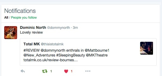 Matthew Bourne's Sleeping Beauty. Review by Georgina Butler retweeted on Twitter by dancer Dominic North.