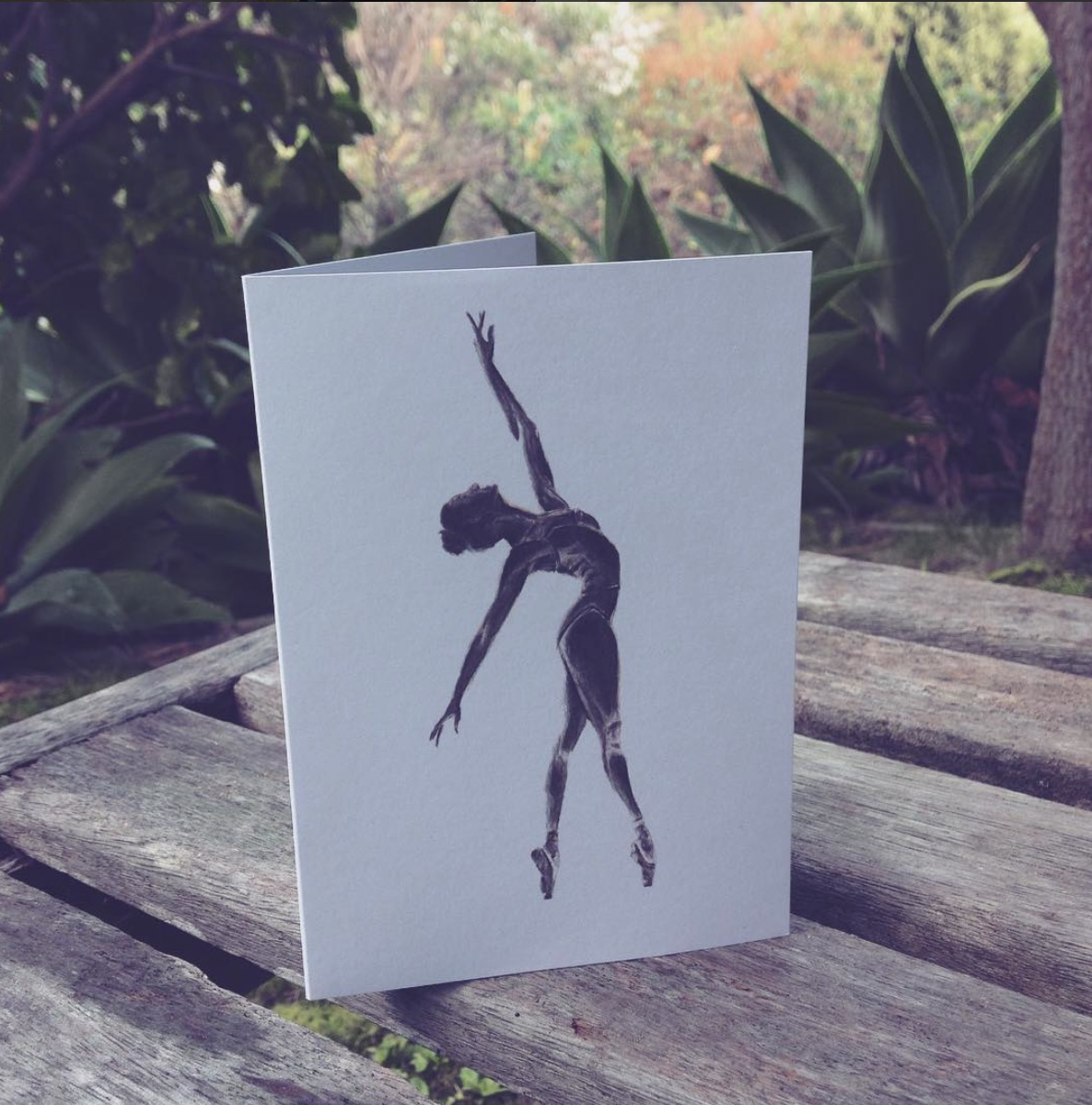Ballet dancer greeting card by Olivia Holland. Artwork painted and printed on Waiheke Island.