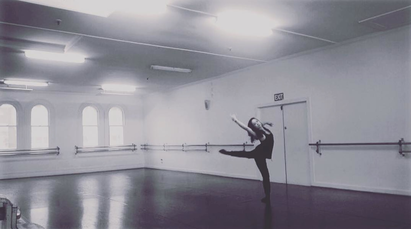 Olivia Holland dancing in a dance studio in New Zealand.