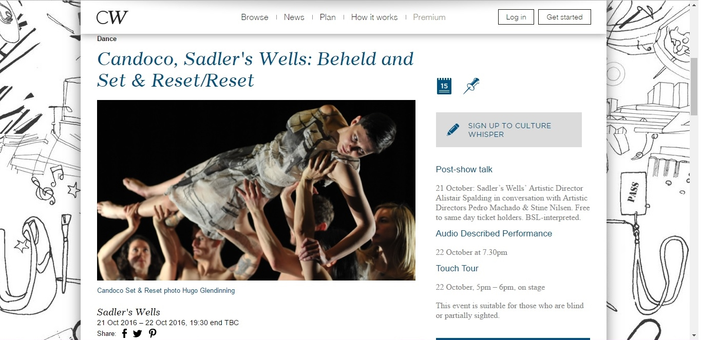 Screenshot of Culture Whisper content by Georgina Butler. Preview of Candoco: Beheld and Set & Reset/Reset, image 1