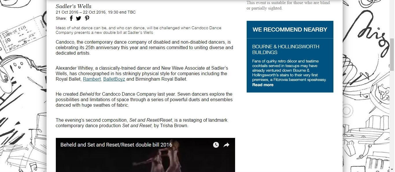 Screenshot of Culture Whisper content by Georgina Butler. Preview of Candoco: Beheld and Set & Reset/Reset, image 2