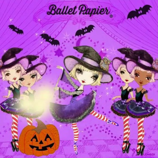 Happy Halloween. Ballerinas as witches by Ballet Papier.
