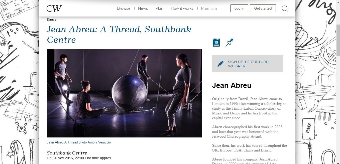 Screenshot of Culture Whisper content by Georgina Butler. Preview of Jean Abreu: A Thread, image 1