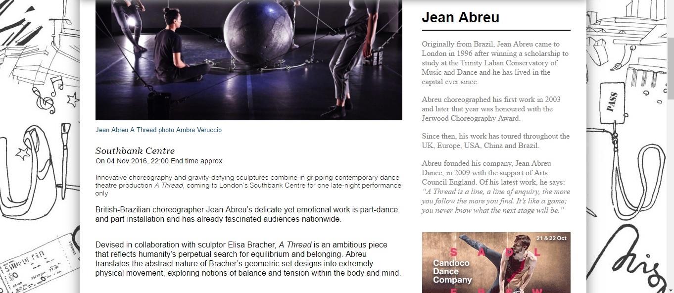 Screenshot of Culture Whisper content by Georgina Butler. Preview of Jean Abreu: A Thread, image 2
