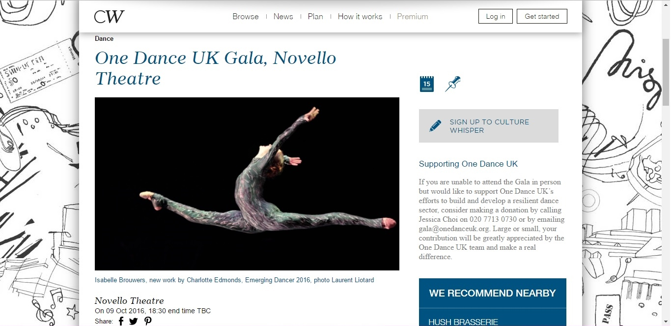 Screenshot of Culture Whisper content by Georgina Butler. Preview of One Dance UK Gala, image 1